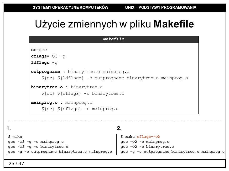 SYSTEMY OPERACYJNE KOMPUTERÓW UNIX – PODSTAWY PROGRAMOWANIA 25 / 47 Użycie zmiennych w pliku Makefile cc=gcc cflags=-O3 -g ldflags=-g outprogname : binarytree.o mainprog.o ${cc} ${ldflags} -o outprogname binarytree.o mainprog.o binarytree.o : binarytree.c ${cc} ${cflags} -c binarytree.c mainprog.o : mainprog.c ${cc} ${cflags} -c mainprog.c Makefile $ make gcc -O3 -g -c mainprog.c gcc -O3 -g -c binarytree.c gcc -g -o outprogname binarytree.o mainprog.o $ make cflags=-O2 gcc -O2 -c mainprog.c gcc -O2 -c binarytree.c gcc -g -o outprogname binarytree.o mainprog.o 1.2.