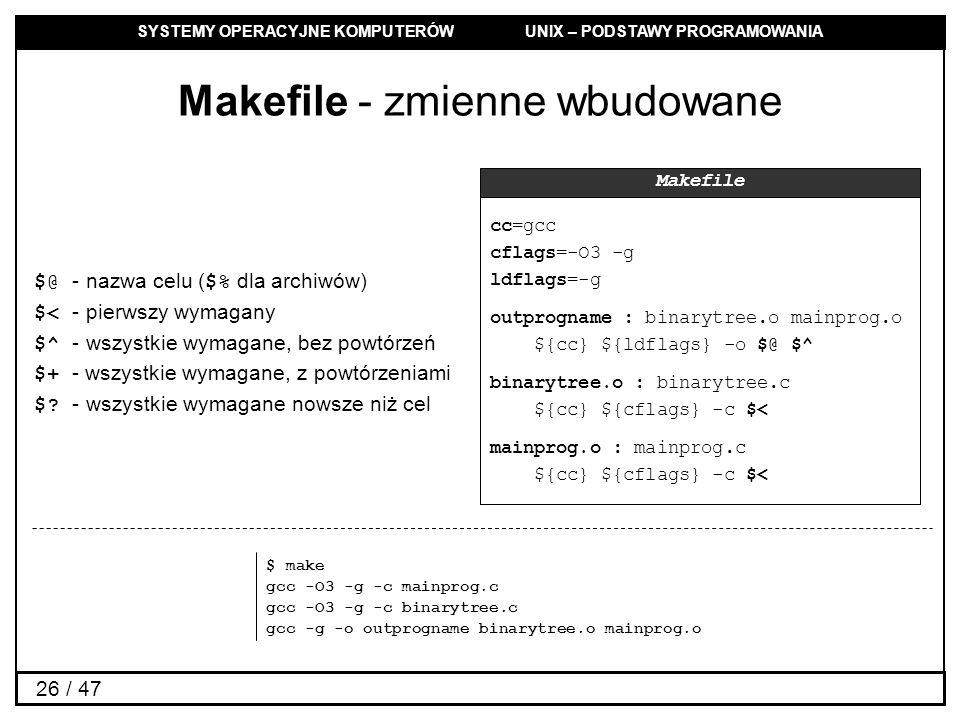 SYSTEMY OPERACYJNE KOMPUTERÓW UNIX – PODSTAWY PROGRAMOWANIA 26 / 47 Makefile - zmienne wbudowane $@ - nazwa celu ($% dla archiwów) $< - pierwszy wymagany $^ - wszystkie wymagane, bez powtórzeń $+ - wszystkie wymagane, z powtórzeniami $.