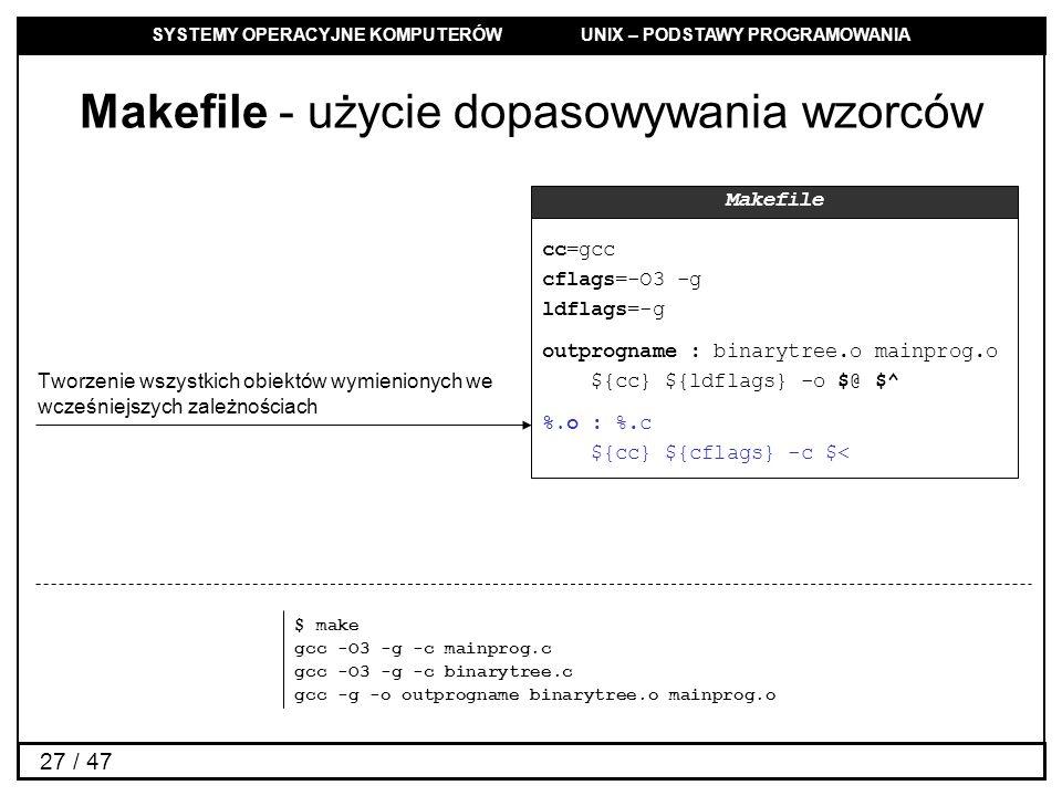 SYSTEMY OPERACYJNE KOMPUTERÓW UNIX – PODSTAWY PROGRAMOWANIA 27 / 47 Makefile - użycie dopasowywania wzorców cc=gcc cflags=-O3 -g ldflags=-g outprogname : binarytree.o mainprog.o ${cc} ${ldflags} -o $@ $^ %.o : %.c ${cc} ${cflags} -c $< Makefile Tworzenie wszystkich obiektów wymienionych we wcześniejszych zależnościach $ make gcc -O3 -g -c mainprog.c gcc -O3 -g -c binarytree.c gcc -g -o outprogname binarytree.o mainprog.o