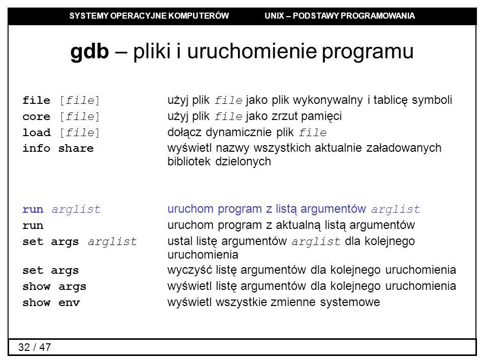 SYSTEMY OPERACYJNE KOMPUTERÓW UNIX – PODSTAWY PROGRAMOWANIA 32 / 47 gdb – pliki i uruchomienie programu file [file] użyj plik file jako plik wykonywalny i tablicę symboli core [file] użyj plik file jako zrzut pamięci load [file] dołącz dynamicznie plik file info share wyświetl nazwy wszystkich aktualnie załadowanych bibliotek dzielonych run arglist uruchom program z listą argumentów arglist run uruchom program z aktualną listą argumentów set args arglist ustal listę argumentów arglist dla kolejnego uruchomienia set args wyczyść listę argumentów dla kolejnego uruchomienia show args wyświetl listę argumentów dla kolejnego uruchomienia show env wyświetl wszystkie zmienne systemowe