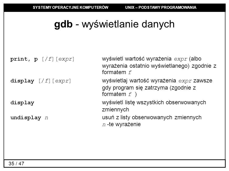 SYSTEMY OPERACYJNE KOMPUTERÓW UNIX – PODSTAWY PROGRAMOWANIA 35 / 47 gdb - wyświetlanie danych print, p [/f][expr] wyświetl wartość wyrażenia expr (albo wyrażenia ostatnio wyświetlanego) zgodnie z formatem f display [/f][expr] wyświetlaj wartość wyrażenia expr zawsze gdy program się zatrzyma (zgodnie z formatem f ) display wyświetl listę wszystkich obserwowanych zmiennych undisplay n usuń z listy obserwowanych zmiennych n -te wyrażenie