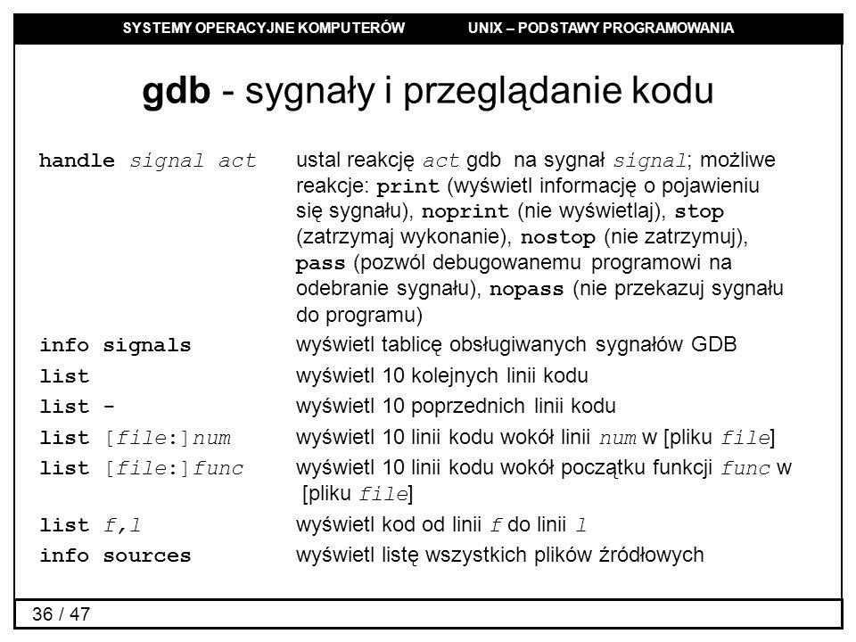 SYSTEMY OPERACYJNE KOMPUTERÓW UNIX – PODSTAWY PROGRAMOWANIA 36 / 47 gdb - sygnały i przeglądanie kodu handle signal act ustal reakcję act gdb na sygnał signal ; możliwe reakcje: print (wyświetl informację o pojawieniu się sygnału), noprint (nie wyświetlaj), stop (zatrzymaj wykonanie), nostop (nie zatrzymuj), pass (pozwól debugowanemu programowi na odebranie sygnału), nopass (nie przekazuj sygnału do programu) info signals wyświetl tablicę obsługiwanych sygnałów GDB list wyświetl 10 kolejnych linii kodu list - wyświetl 10 poprzednich linii kodu list [file:]num wyświetl 10 linii kodu wokół linii num w [pliku file ] list [file:]func wyświetl 10 linii kodu wokół początku funkcji func w [pliku file ] list f,l wyświetl kod od linii f do linii l info sources wyświetl listę wszystkich plików źródłowych