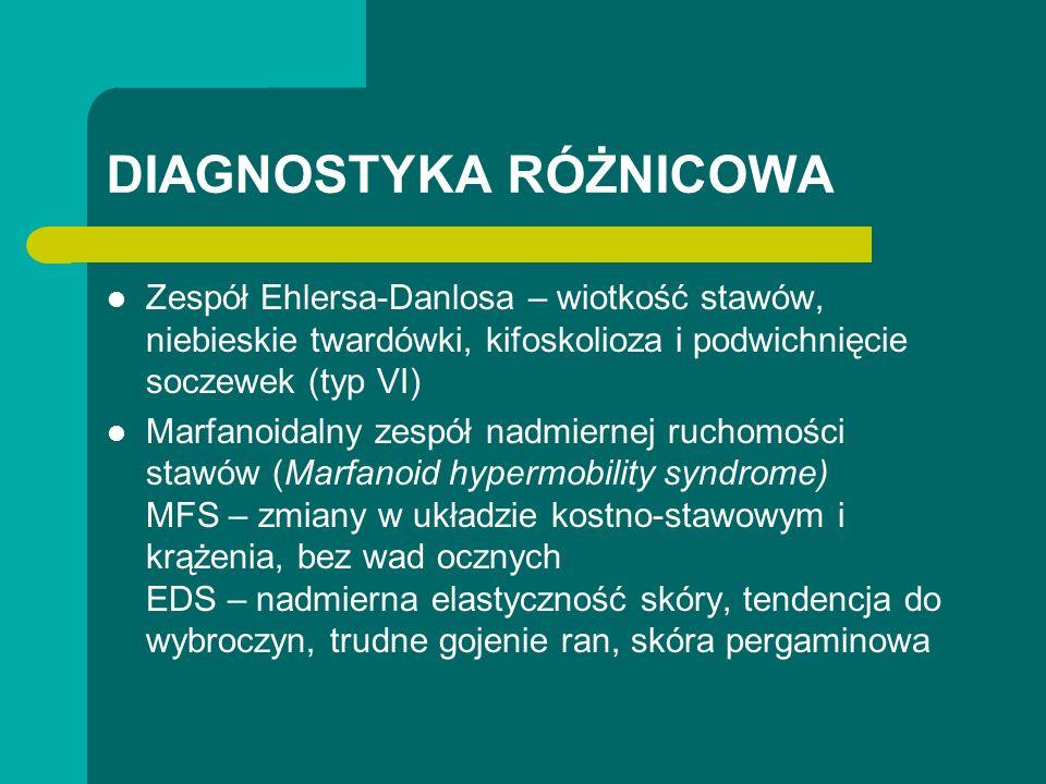 DIAGNOSTYKA RÓŻNICOWA Zespół Ehlersa-Danlosa – wiotkość stawów, niebieskie twardówki, kifoskolioza i podwichnięcie soczewek (typ VI) Marfanoidalny zespół nadmiernej ruchomości stawów (Marfanoid hypermobility syndrome) MFS – zmiany w układzie kostno-stawowym i krążenia, bez wad ocznych EDS – nadmierna elastyczność skóry, tendencja do wybroczyn, trudne gojenie ran, skóra pergaminowa