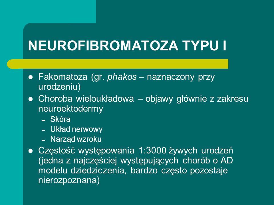 NEUROFIBROMATOZA TYPU I Fakomatoza (gr. phakos – naznaczony przy urodzeniu) Choroba wieloukładowa – objawy głównie z zakresu neuroektodermy – Skóra –