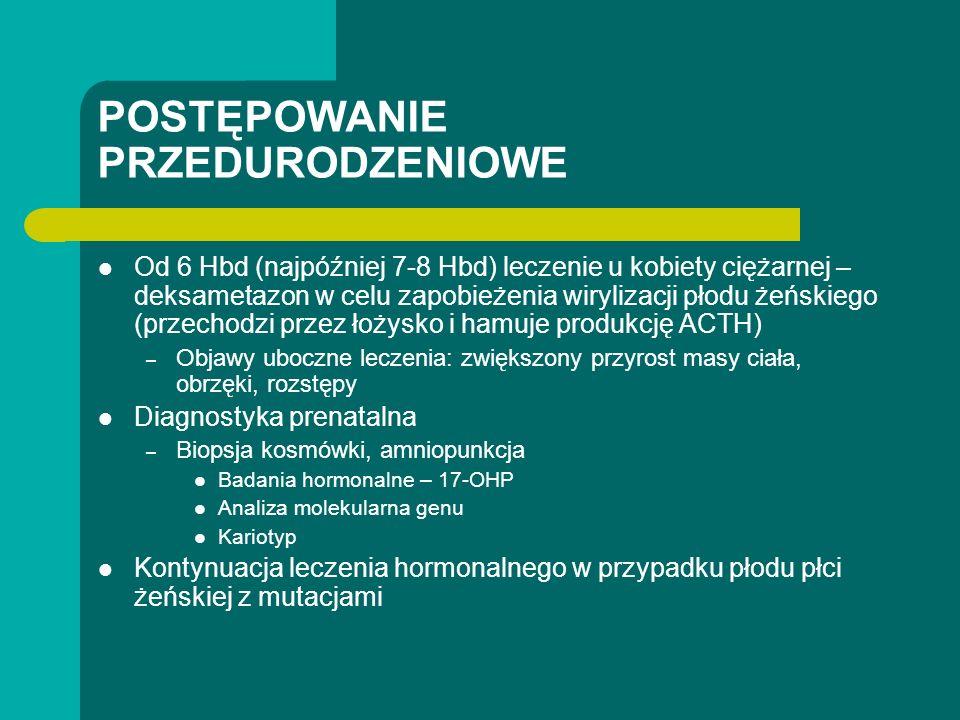 POSTĘPOWANIE PRZEDURODZENIOWE Od 6 Hbd (najpóźniej 7-8 Hbd) leczenie u kobiety ciężarnej – deksametazon w celu zapobieżenia wirylizacji płodu żeńskiego (przechodzi przez łożysko i hamuje produkcję ACTH) – Objawy uboczne leczenia: zwiększony przyrost masy ciała, obrzęki, rozstępy Diagnostyka prenatalna – Biopsja kosmówki, amniopunkcja Badania hormonalne – 17-OHP Analiza molekularna genu Kariotyp Kontynuacja leczenia hormonalnego w przypadku płodu płci żeńskiej z mutacjami