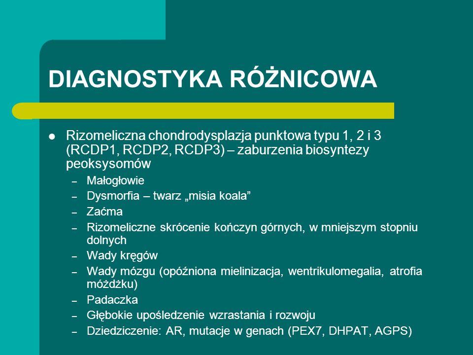 DIAGNOSTYKA RÓŻNICOWA Rizomeliczna chondrodysplazja punktowa typu 1, 2 i 3 (RCDP1, RCDP2, RCDP3) – zaburzenia biosyntezy peoksysomów – Małogłowie – Dysmorfia – twarz misia koala – Zaćma – Rizomeliczne skrócenie kończyn górnych, w mniejszym stopniu dolnych – Wady kręgów – Wady mózgu (opóźniona mielinizacja, wentrikulomegalia, atrofia móżdżku) – Padaczka – Głębokie upośledzenie wzrastania i rozwoju – Dziedziczenie: AR, mutacje w genach (PEX7, DHPAT, AGPS)