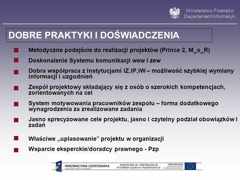Ministerstwo Finansów Departament Informatyki Metodyczne podejście do realizacji projektów (Prince 2, M_o_R) Doskonalenie Systemu komunikacji wew i ze