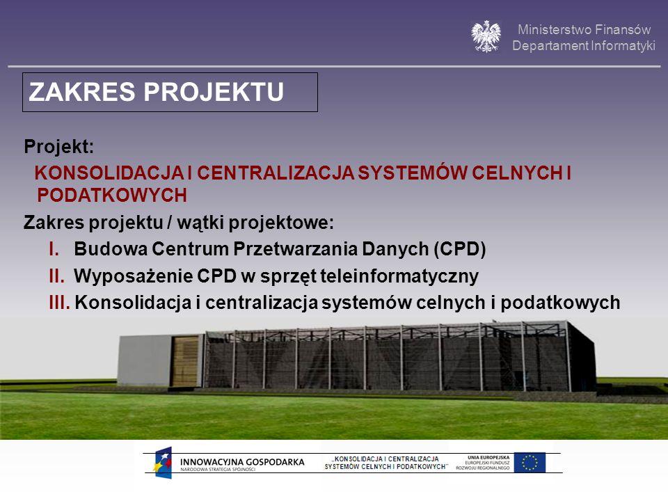 Ministerstwo Finansów Departament Informatyki Projekt: KONSOLIDACJA I CENTRALIZACJA SYSTEMÓW CELNYCH I PODATKOWYCH Zakres projektu / wątki projektowe: