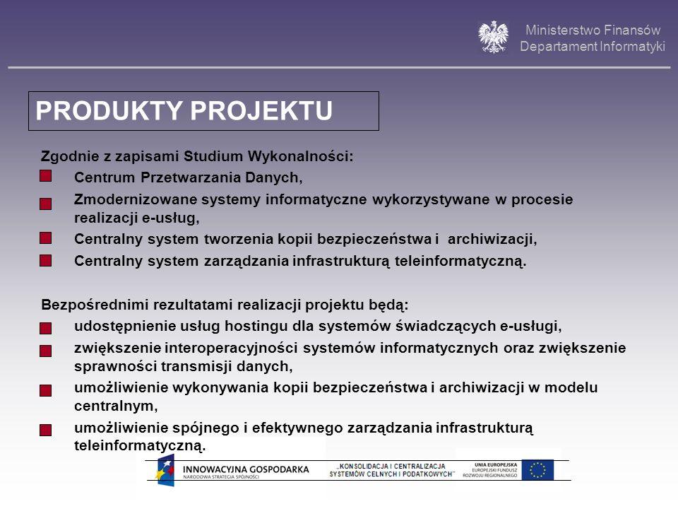 Ministerstwo Finansów Departament Informatyki Zgodnie z zapisami Studium Wykonalności: Centrum Przetwarzania Danych, Zmodernizowane systemy informatyc