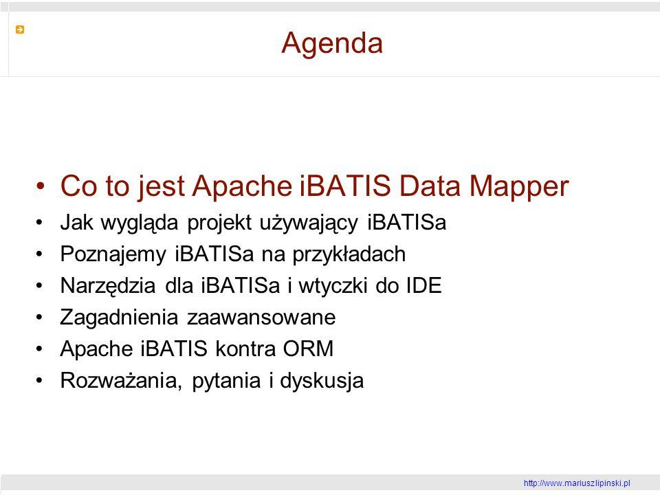 http://www.mariusz lipinski.pl Agenda Co to jest Apache iBATIS Data Mapper Jak wygląda projekt używający iBATISa Poznajemy iBATISa na przykładach Narzędzia dla iBATISa i wtyczki do IDE Zagadnienia zaawansowane Apache iBATIS kontra ORM Rozważania, pytania i dyskusja