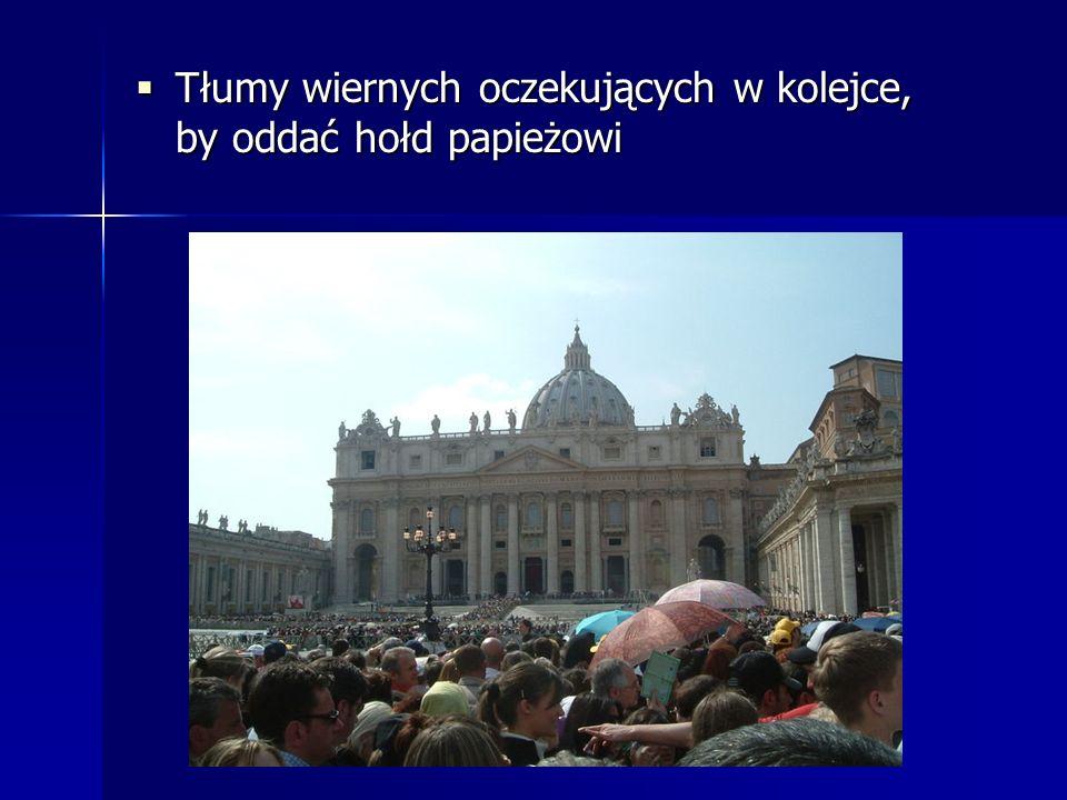 Tłumy wiernych oczekujących w kolejce, by oddać hołd papieżowi Tłumy wiernych oczekujących w kolejce, by oddać hołd papieżowi