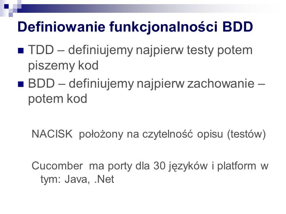 Definiowanie funkcjonalności BDD TDD – definiujemy najpierw testy potem piszemy kod BDD – definiujemy najpierw zachowanie – potem kod NACISK położony