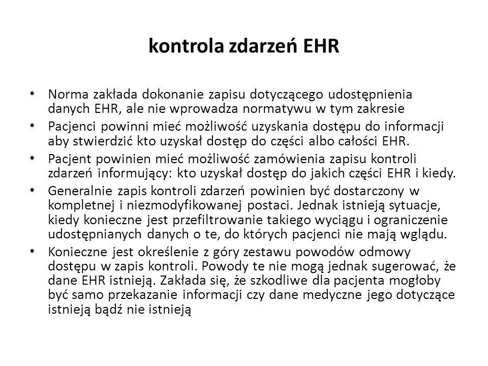 kontrola zdarzeń EHR Norma zakłada dokonanie zapisu dotyczącego udostępnienia danych EHR, ale nie wprowadza normatywu w tym zakresie Pacjenci powinni