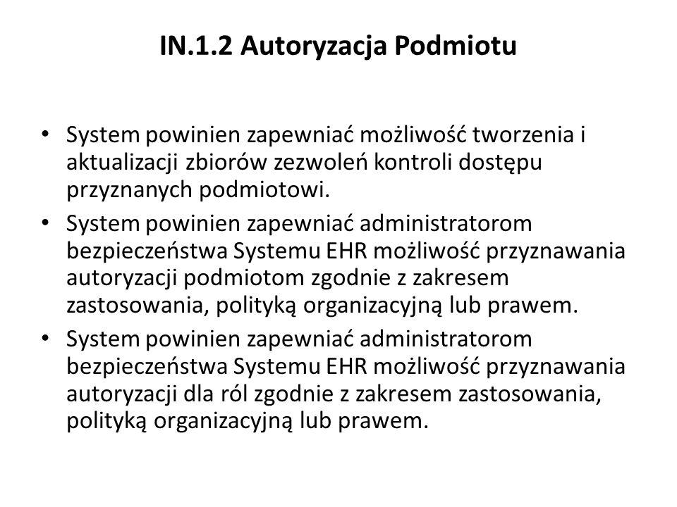 IN.1.2 Autoryzacja Podmiotu System powinien zapewniać możliwość tworzenia i aktualizacji zbiorów zezwoleń kontroli dostępu przyznanych podmiotowi. Sys