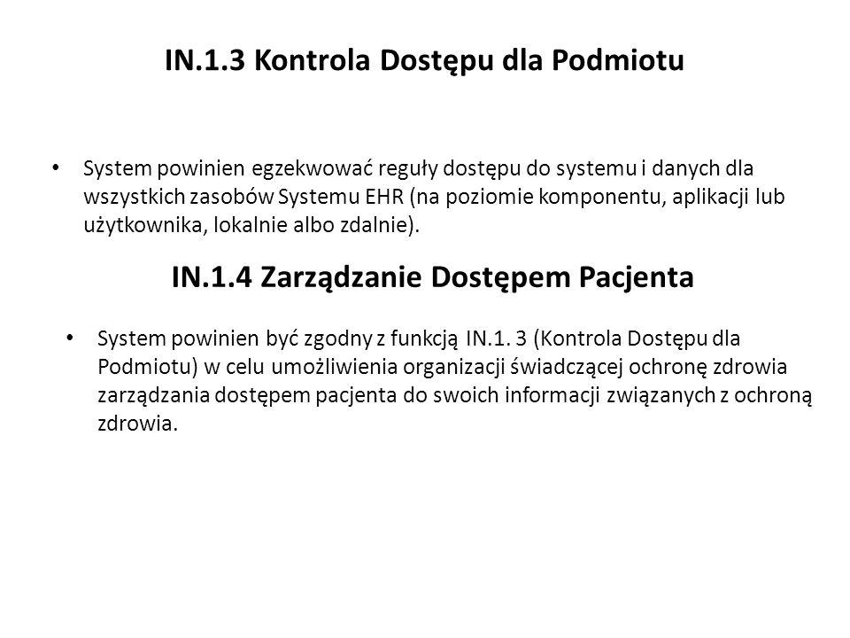IN.1.3 Kontrola Dostępu dla Podmiotu System powinien egzekwować reguły dostępu do systemu i danych dla wszystkich zasobów Systemu EHR (na poziomie kom