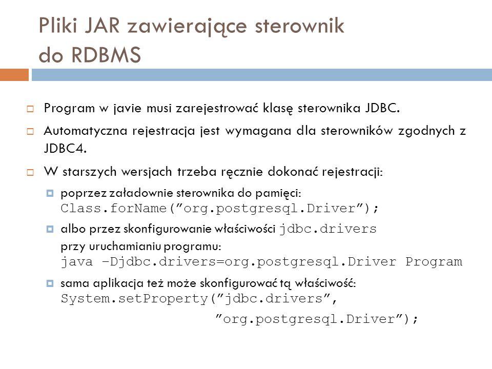 Pliki JAR zawierające sterownik do RDBMS Program w javie musi zarejestrować klasę sterownika JDBC.