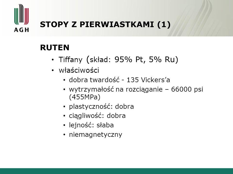 STOPY Z PIERWIASTKAMI (1) RUTEN Tiffany ( skład: 95% Pt, 5% Ru) właściwości dobra twardość - 135 Vickersa wytrzymałość na rozciąganie – 66000 psi (455MPa) plastyczność: dobra ciągliwość: dobra lejność: słaba niemagnetyczny