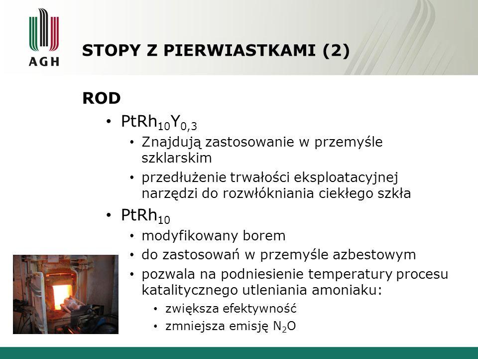 STOPY Z PIERWIASTKAMI (2) ROD PtRh 10 Y 0,3 Znajdują zastosowanie w przemyśle szklarskim przedłużenie trwałości eksploatacyjnej narzędzi do rozwłókniania ciekłego szkła PtRh 10 modyfikowany borem do zastosowań w przemyśle azbestowym pozwala na podniesienie temperatury procesu katalitycznego utleniania amoniaku: zwiększa efektywność zmniejsza emisję N 2 O