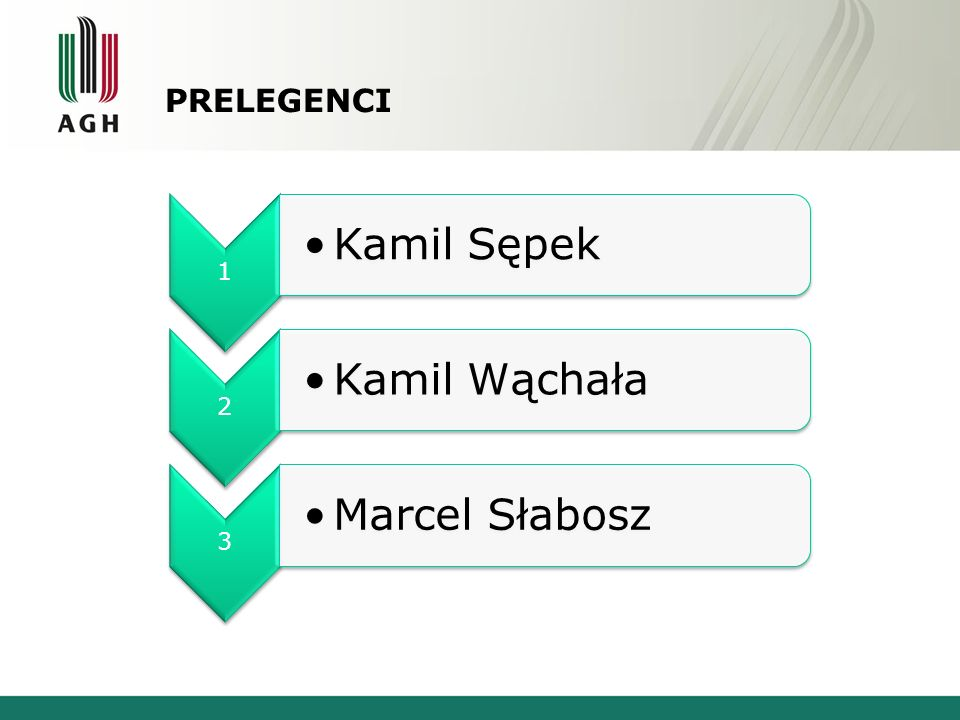 PRELEGENCI 1 Kamil Sępek 2 Kamil Wąchała 3 Marcel Słabosz