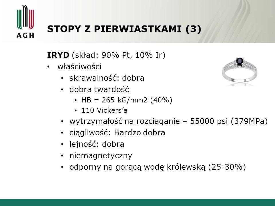 STOPY Z PIERWIASTKAMI (3) IRYD (skład: 90% Pt, 10% Ir) właściwości skrawalność: dobra dobra twardość HB = 265 kG/mm2 (40%) 110 Vickersa wytrzymałość na rozciąganie – 55000 psi (379MPa) ciągliwość: Bardzo dobra lejność: dobra niemagnetyczny odporny na gorącą wodę królewską (25-30%)