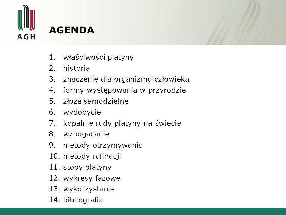 AGENDA 1.właściwości platyny 2.historia 3.znaczenie dla organizmu człowieka 4.formy występowania w przyrodzie 5.złoża samodzielne 6.wydobycie 7.kopalnie rudy platyny na świecie 8.wzbogacanie 9.metody otrzymywania 10.metody rafinacji 11.stopy platyny 12.wykresy fazowe 13.wykorzystanie 14.bibliografia