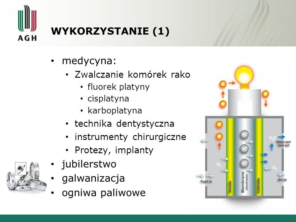 WYKORZYSTANIE (1) medycyna: Zwalczanie komórek rakowych: fluorek platyny cisplatyna karboplatyna technika dentystyczna instrumenty chirurgiczne Protezy, implanty jubilerstwo galwanizacja ogniwa paliwowe