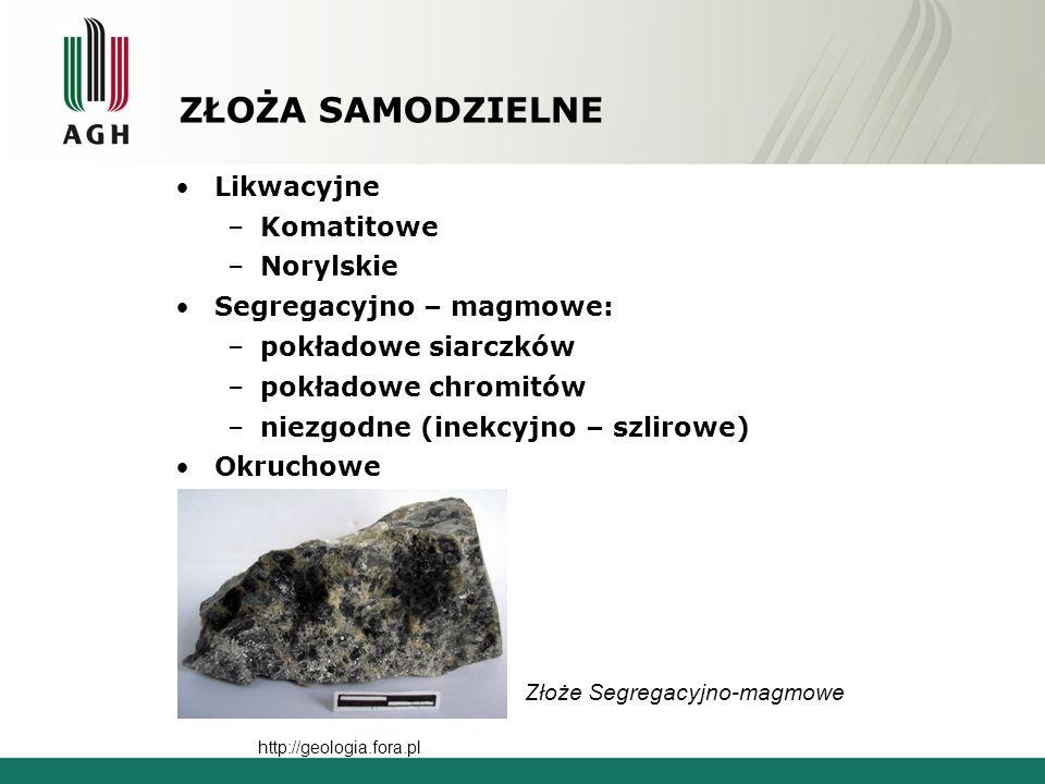 ZŁOŻA SAMODZIELNE Likwacyjne –Komatitowe –Norylskie Segregacyjno – magmowe: –pokładowe siarczków –pokładowe chromitów –niezgodne (inekcyjno – szlirowe) Okruchowe http://geologia.fora.pl Złoże Segregacyjno-magmowe