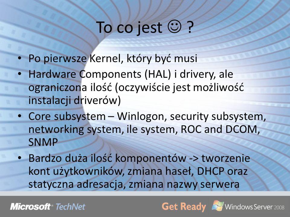 To co jest ? Po pierwsze Kernel, który być musi Hardware Components (HAL) i drivery, ale ograniczona ilość (oczywiście jest możliwość instalacji drive