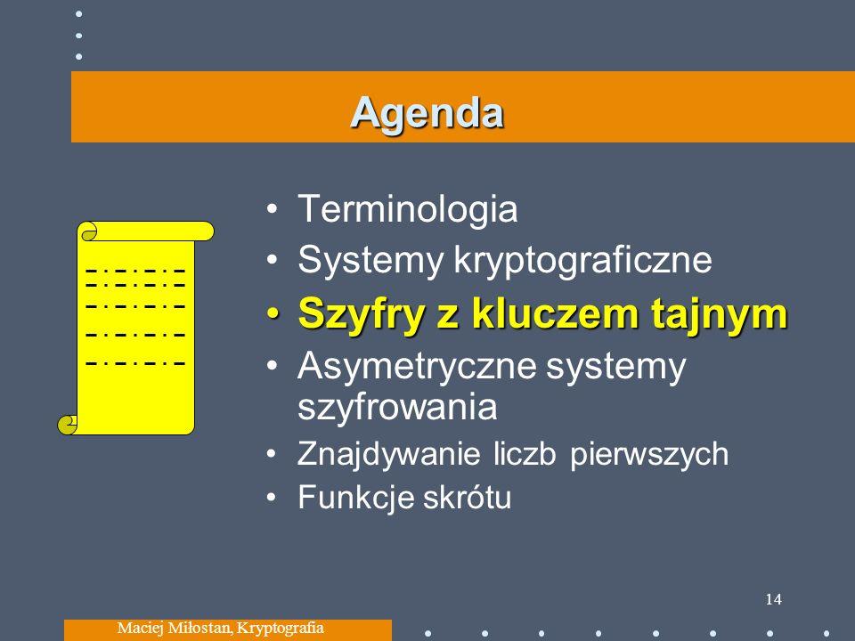 Agenda Terminologia Systemy kryptograficzne Szyfry z kluczem tajnymSzyfry z kluczem tajnym Asymetryczne systemy szyfrowania Znajdywanie liczb pierwszy