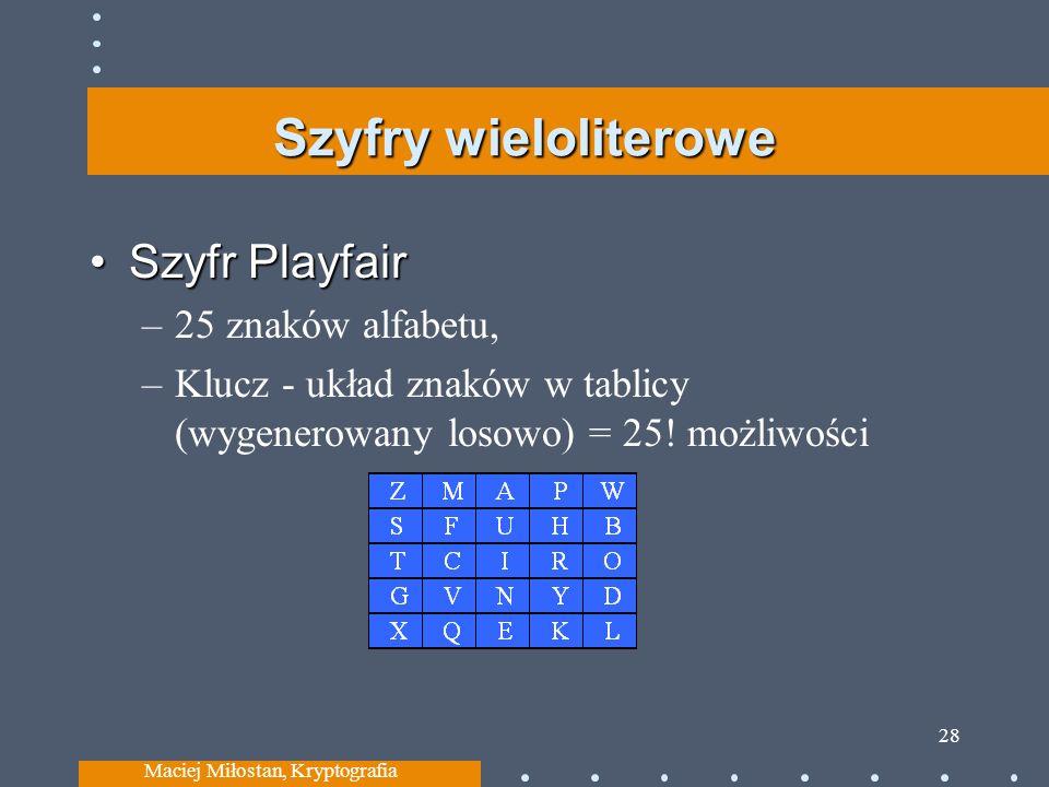 Szyfry wieloliterowe Szyfr PlayfairSzyfr Playfair –25 znaków alfabetu, –Klucz - układ znaków w tablicy (wygenerowany losowo) = 25! możliwości Maciej M