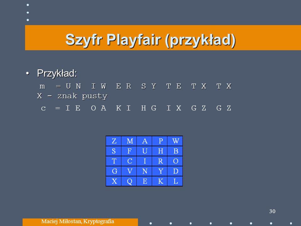 Szyfr Playfair (przykład) Przykład: m= U N I WE R S Y T E T X T X X - znak pustyPrzykład: m= U N I WE R S Y T E T X T X X - znak pusty c = I E O AK I H G I X G Z G Z Maciej Miłostan, Kryptografia 30