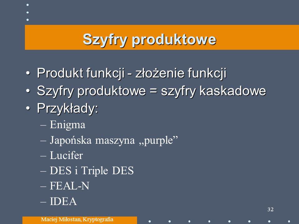 Szyfry produktowe Produkt funkcji - złożenie funkcjiProdukt funkcji - złożenie funkcji Szyfry produktowe = szyfry kaskadoweSzyfry produktowe = szyfry kaskadowe Przykłady:Przykłady: –Enigma –Japońska maszyna purple –Lucifer –DES i Triple DES –FEAL-N –IDEA Maciej Miłostan, Kryptografia 32