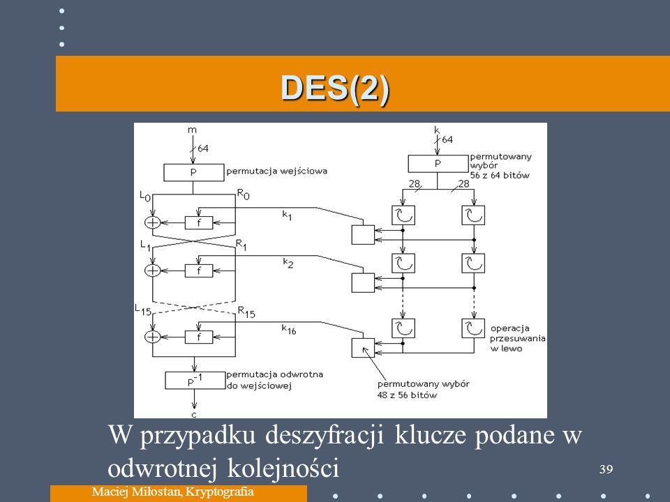 DES(2) Maciej Miłostan, Kryptografia 39 W przypadku deszyfracji klucze podane w odwrotnej kolejności