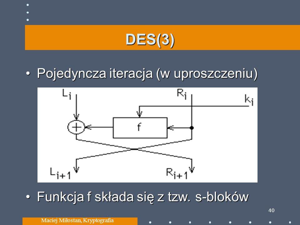 DES(3) Pojedyncza iteracja (w uproszczeniu)Pojedyncza iteracja (w uproszczeniu) Funkcja f składa się z tzw. s-blokówFunkcja f składa się z tzw. s-blok