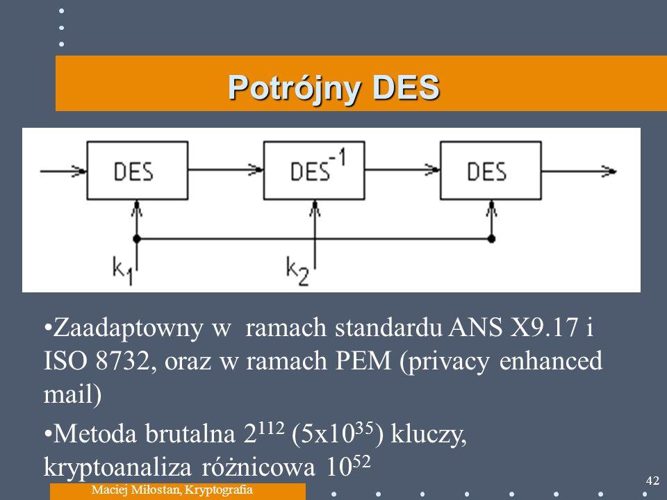Potrójny DES Maciej Miłostan, Kryptografia 42 Zaadaptowny w ramach standardu ANS X9.17 i ISO 8732, oraz w ramach PEM (privacy enhanced mail) Metoda brutalna 2 112 (5x10 35 ) kluczy, kryptoanaliza różnicowa 10 52