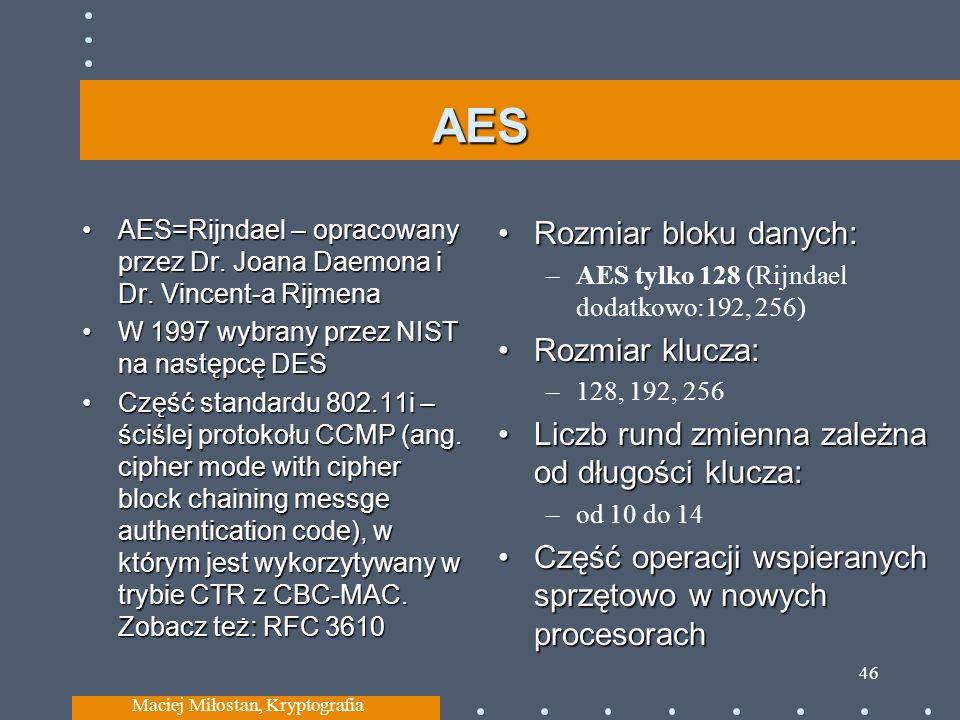 AES AES=Rijndael – opracowany przez Dr. Joana Daemona i Dr. Vincent-a RijmenaAES=Rijndael – opracowany przez Dr. Joana Daemona i Dr. Vincent-a Rijmena