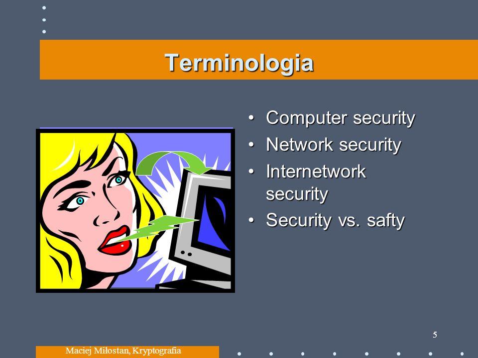 Terminologia Computer security Network security Internetwork security Security vs. safty Maciej Miłostan, Kryptografia 5