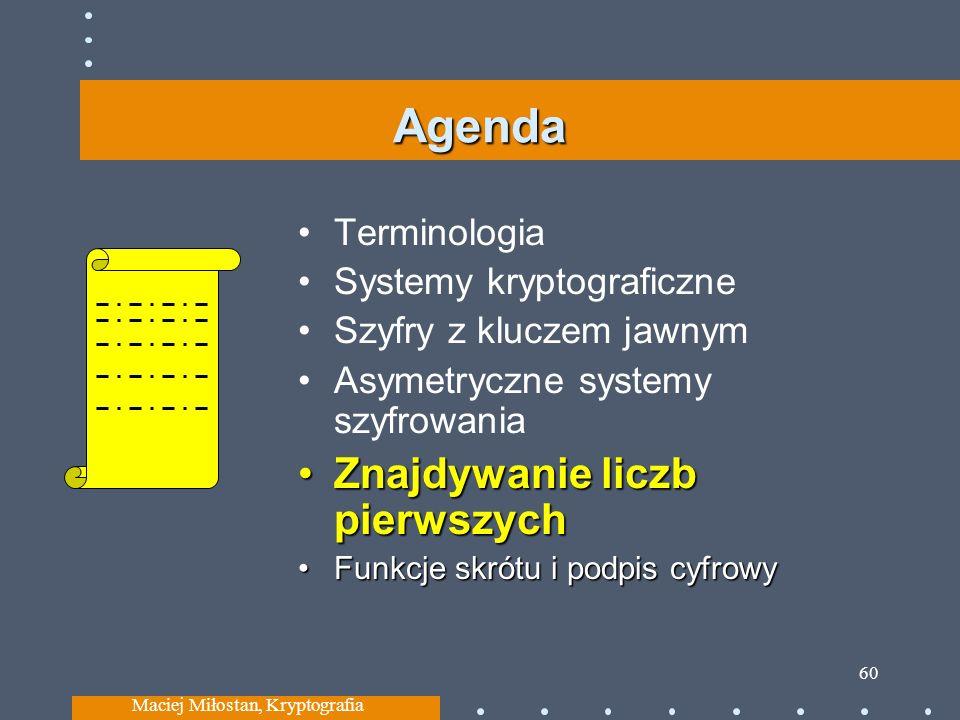 Agenda Terminologia Systemy kryptograficzne Szyfry z kluczem jawnym Asymetryczne systemy szyfrowania Znajdywanie liczb pierwszychZnajdywanie liczb pierwszych Funkcje skrótu i podpis cyfrowyFunkcje skrótu i podpis cyfrowy Maciej Miłostan, Kryptografia 60