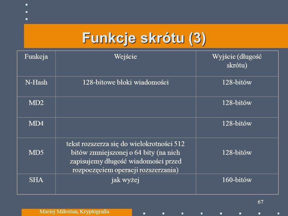 Funkcje skrótu (3) Maciej Miłostan, Kryptografia 67 FunkcjaWejścieWyjście (długość skrótu) N-Hash128-bitowe bloki wiadomości128-bitów MD2128-bitów MD4