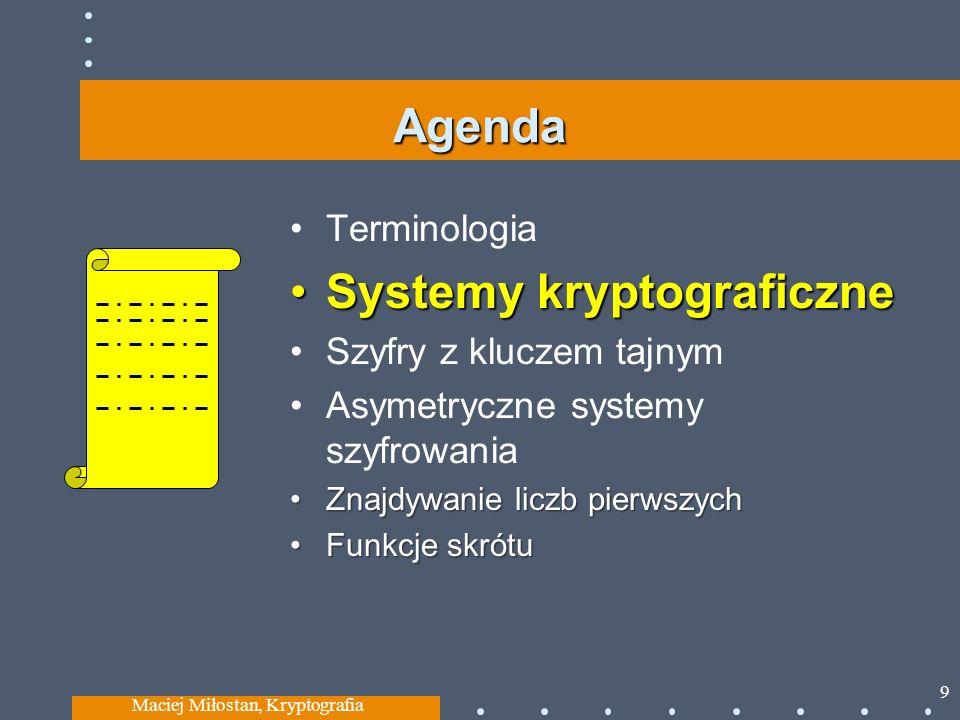 Agenda Terminologia Systemy kryptograficzneSystemy kryptograficzne Szyfry z kluczem tajnym Asymetryczne systemy szyfrowania Znajdywanie liczb pierwszychZnajdywanie liczb pierwszych Funkcje skrótuFunkcje skrótu Maciej Miłostan, Kryptografia 9