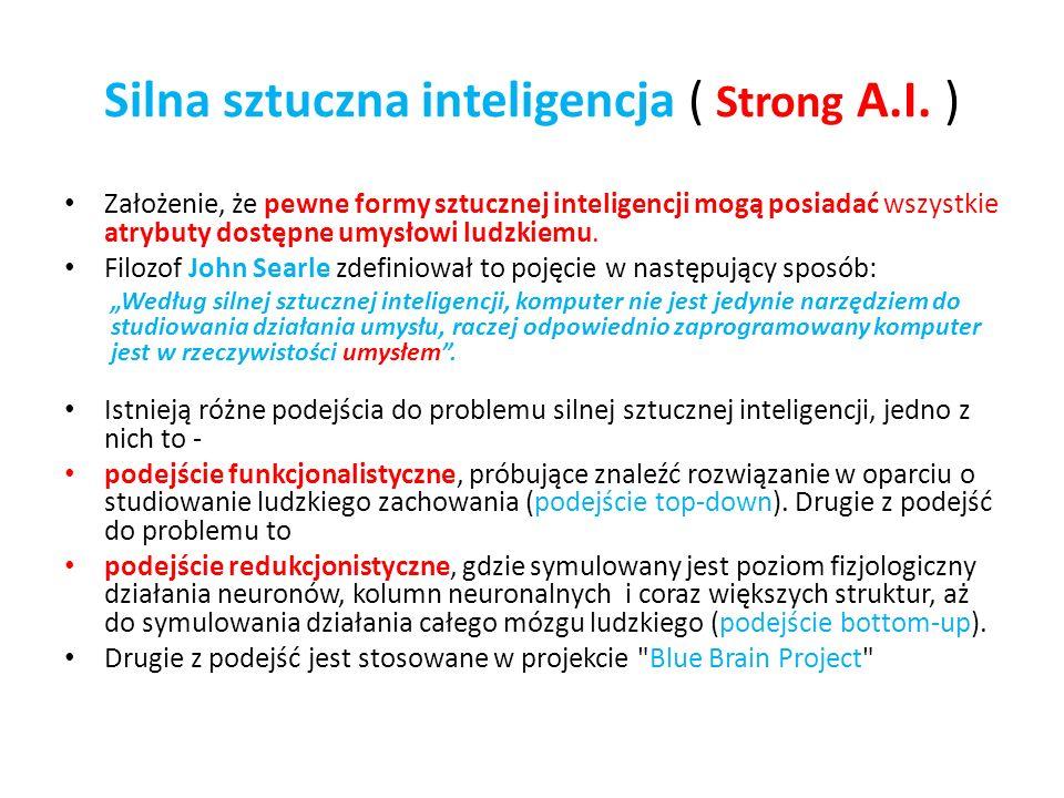 Silna sztuczna inteligencja ( Strong A.I. ) Założenie, że pewne formy sztucznej inteligencji mogą posiadać wszystkie atrybuty dostępne umysłowi ludzki