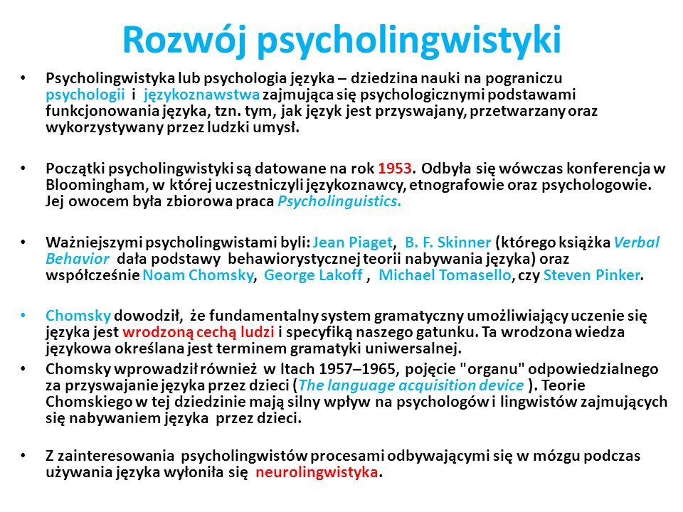 Rozwój psycholingwistyki Psycholingwistyka lub psychologia języka – dziedzina nauki na pograniczu psychologii i językoznawstwa zajmująca się psycholog