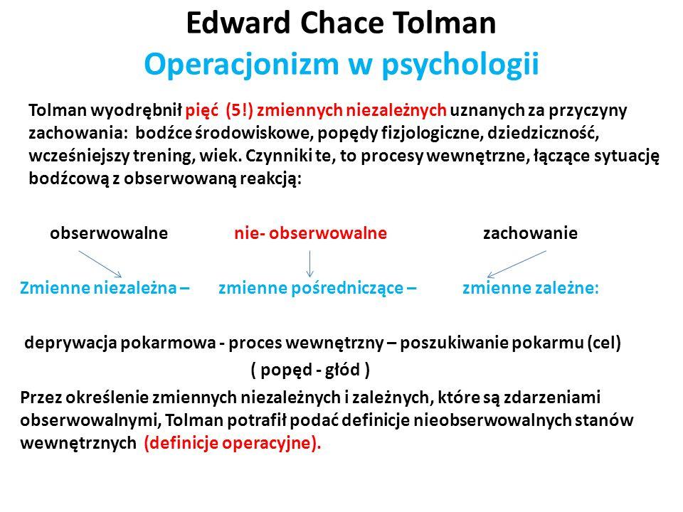 Edward Chace Tolman Operacjonizm w psychologii Tolman wyodrębnił pięć (5!) zmiennych niezależnych uznanych za przyczyny zachowania: bodźce środowiskow