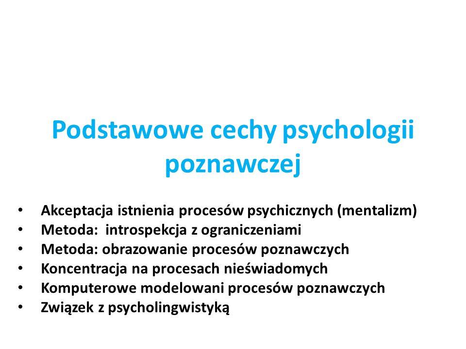 Podstawowe cechy psychologii poznawczej Akceptacja istnienia procesów psychicznych (mentalizm) Metoda: introspekcja z ograniczeniami Metoda: obrazowan