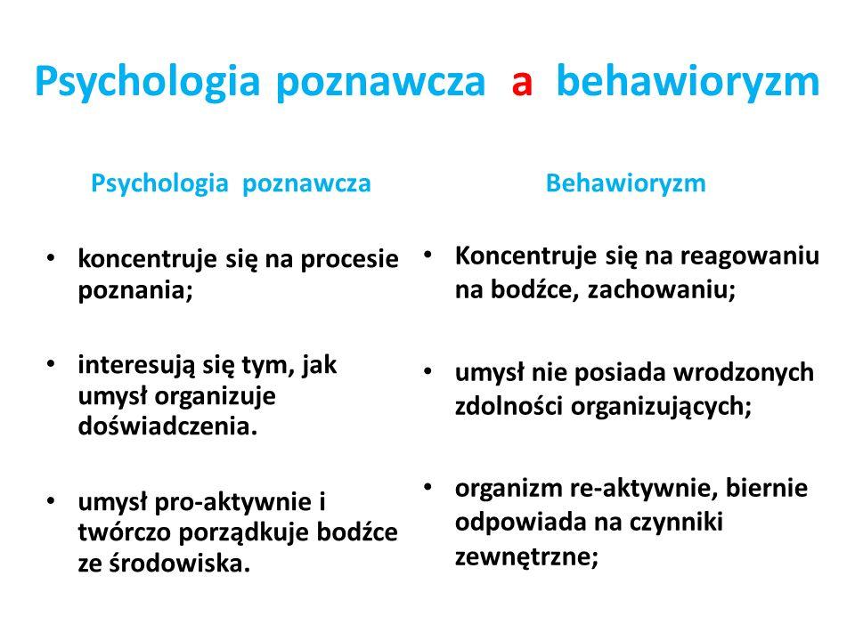 Psychologia poznawcza a behawioryzm Psychologia poznawcza koncentruje się na procesie poznania; interesują się tym, jak umysł organizuje doświadczenia