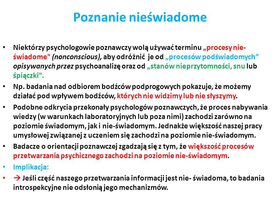 Poznanie nieświadome Niektórzy psychologowie poznawczy wolą używać terminu procesy nie- świadome