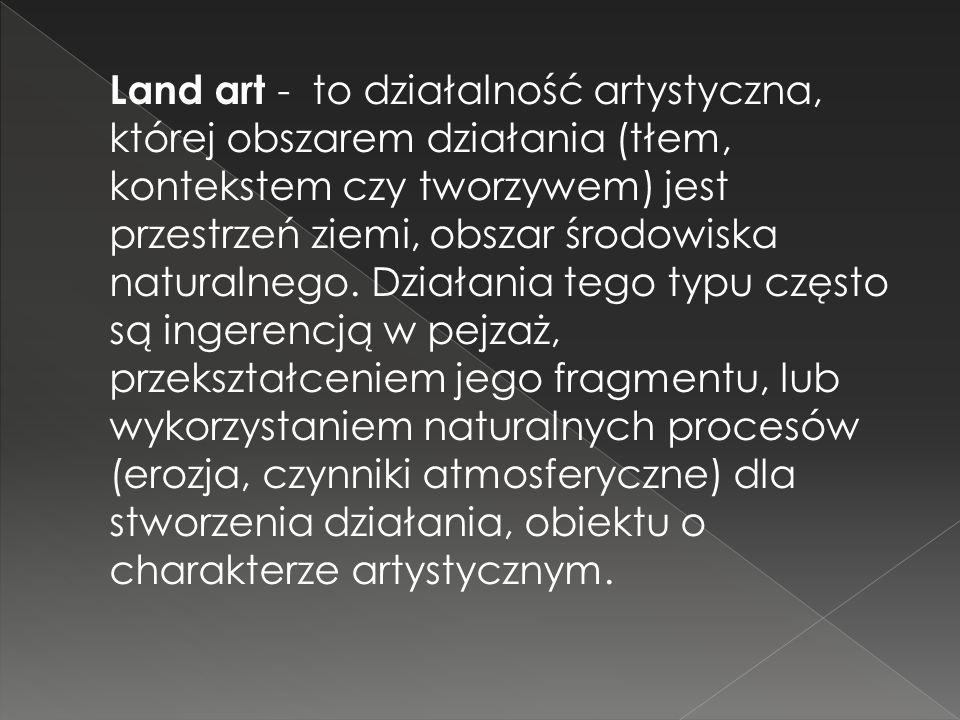 Land art - to działalność artystyczna, której obszarem działania (tłem, kontekstem czy tworzywem) jest przestrzeń ziemi, obszar środowiska naturalnego