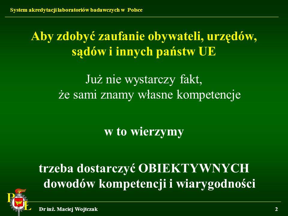 System akredytacji laboratoriów badawczych w Polsce Dr inż. Maciej Wojtczak2 Aby zdobyć zaufanie obywateli, urzędów, sądów i innych państw UE Już nie