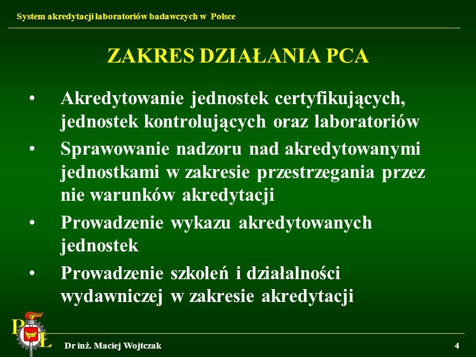 System akredytacji laboratoriów badawczych w Polsce Dr inż. Maciej Wojtczak4 ZAKRES DZIAŁANIA PCA Akredytowanie jednostek certyfikujących, jednostek k