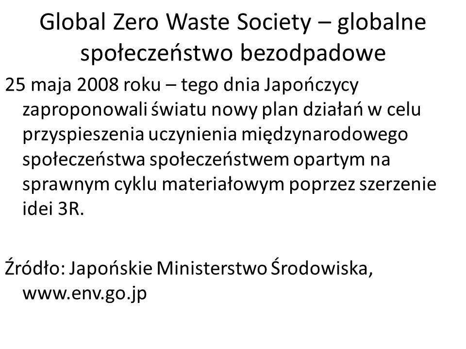 Global Zero Waste Society – globalne społeczeństwo bezodpadowe 25 maja 2008 roku – tego dnia Japończycy zaproponowali światu nowy plan działań w celu przyspieszenia uczynienia międzynarodowego społeczeństwa społeczeństwem opartym na sprawnym cyklu materiałowym poprzez szerzenie idei 3R.